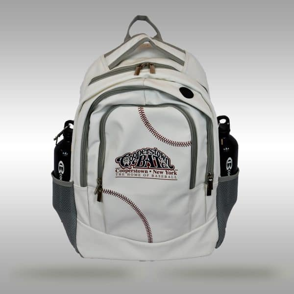 Cooperstown Bat Baseball Leather Backpack with baseball stitches