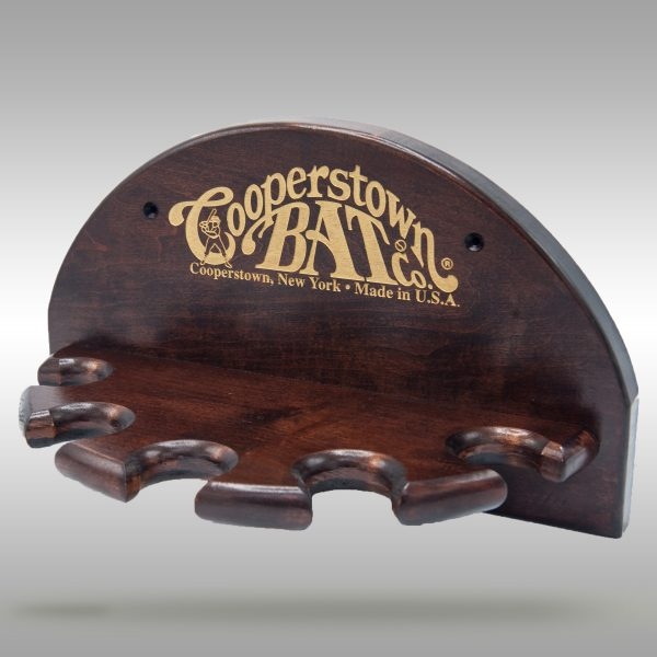 5 crescent Hall of Fame bat display rack