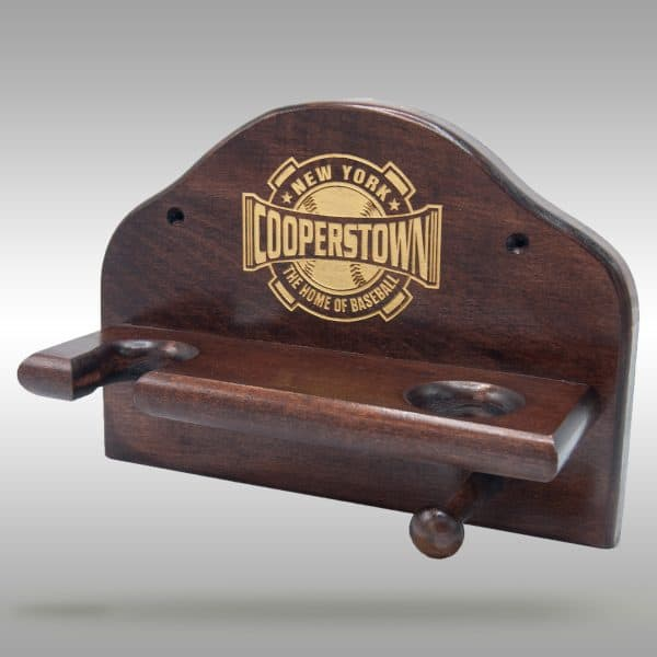 Ball, Bat and Glove Display - Cooperstown Bat Company Dark Stain
