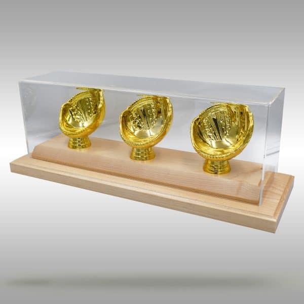 Gold Glove Baseball Display - 3 baseballs