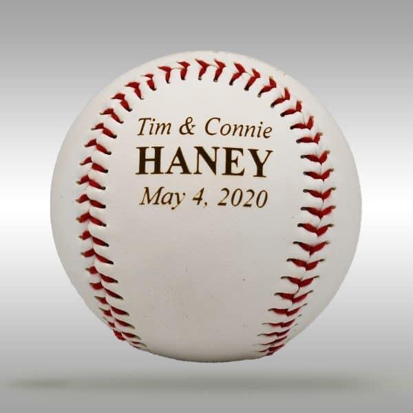 Custom engraved wedding baseball