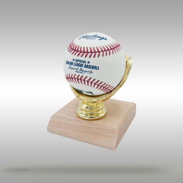 Gold Glove Baseball Display with Wooden Base - Natural and Dark Stain Finish