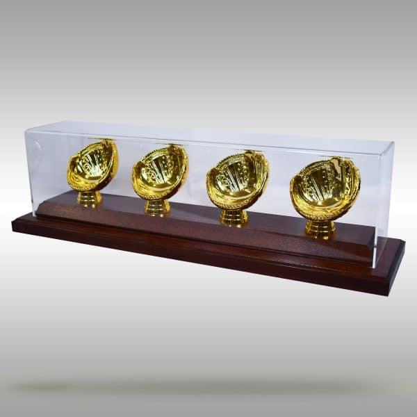 Gold Glove Baseball Display - 4 baseballs - Dark Stain finish