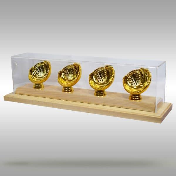 Gold Glove Baseball Display - 4 baseballs - Natural finish